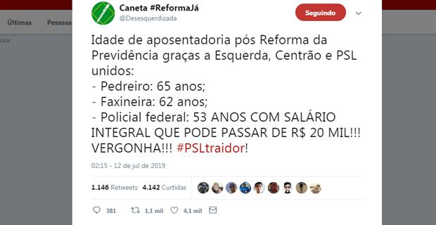 PSLTraidor Twitter 620x320 - PSL Traidor: eleitores se revoltam com flexibilização para policiais na Reforma