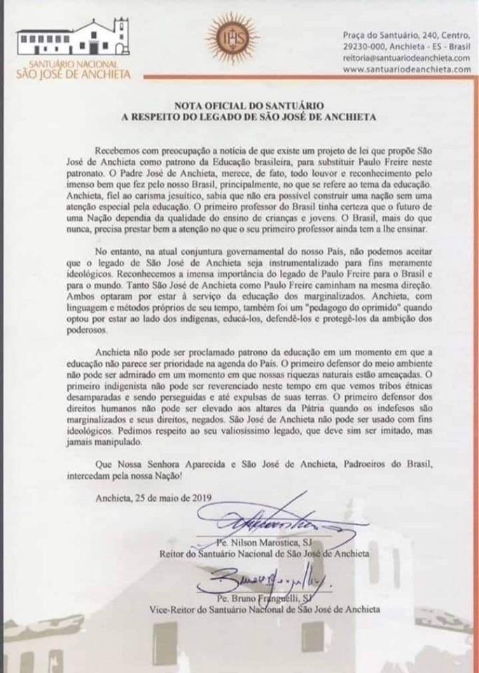 """anchieta - Governo tenta """"substituir"""" o Patrono da Educação Paulo Freire por José de Anchieta e Católicos recusam"""